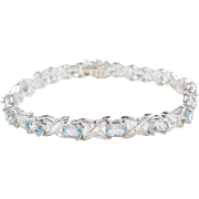 Sterling Silver Light Blue Topaz Bracelet ~ 7""