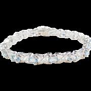"Sterling Silver Light Blue Topaz Bracelet ~ 7"""