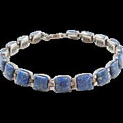 "Sterling Silver Lapis Chip Bracelet ~ 7 3/4"""