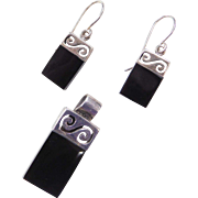 Sterling Silver Onyx Pendant and Earrings Set