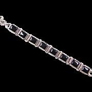 """Sterling Silver Onyx Bracelet ~ 7 3/4"""""""