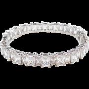 "Impressive Sterling Silver Faux Diamond Hinged Bangle Bracelet ~ 7 1/4"""