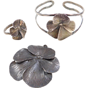 Sterling Silver Poppy Flower Pendant / Pin, Ring and Cuff Bracelet Set