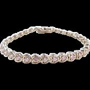 """Sterling Silver Pink Ice Heart Bracelet ~ 7 1/4"""""""