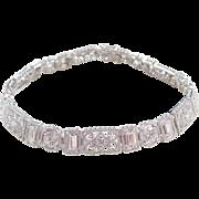 "Ornate Sterling Silver Faux Diamond Bracelet 7 1/2"""