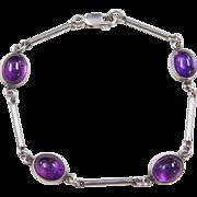 "Sterling Silver Amethyst Bracelet ~ 7 1/2"""