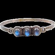 """Sterling Silver Blue Flash Moonstone Bangle Bracelet ~6 1/2"""""""