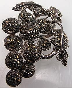 Vintage Sterling Silver & Marcasite Grape Cluster Brooch / Pin