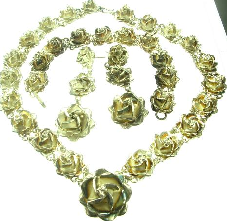 Vintage Mexico Sterling Silver 3 Piece Set Necklace, Bracelet & Earrings, Rose Motif