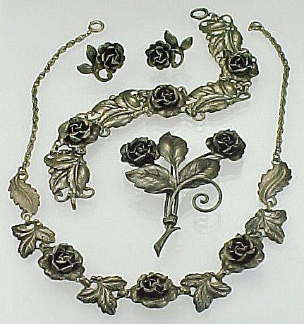 Sterling Silver ROSE Parure ~ Necklace, Bracelet, Brooch, Earrings