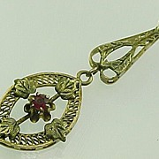 Victorian Lavaliere 10k Yellow Gold Paste / Glass Ruby