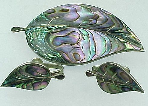 Vintage Mexico Abalone Leaf Brooch And Matching Screw Back Earrings