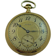 Antique Waltham Pocket Watch - 14k Gold Engraved Textured Dial