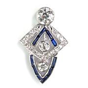 Exquisite Diamond & Sapphire Art Deco Pendant