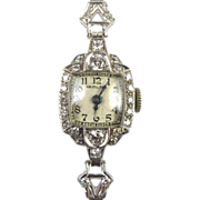 Art Deco Platinum & Diamond Ladies Hamilton Watch