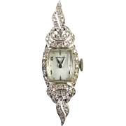 Art Deco 14k White Gold & Diamond Ladies Hamilton Watch