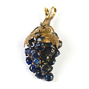 Edwardian Grape Bunch Pendant Sapphire 9kt Gold