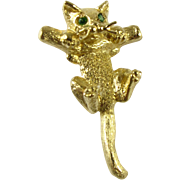 14k Hang in There Baby Kitten Pendant