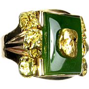 Vintage Men's Jade & 24 kt Gold Nugget Ring