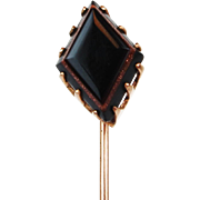 Vintage Onyx & Sunstone Stick Pin 10k Gold