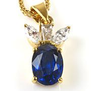 Lovely Sapphire & Diamond 18k Pendant & Chain