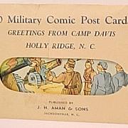 REDUCED 10 Sealed Envelope Military Comic Post Cards WW II  Camp Davis J. H. Aman ...
