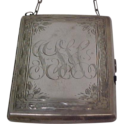 Lovely Antique Hand Engraved Sterling Silver Coin Carrier with Chain circa 1918