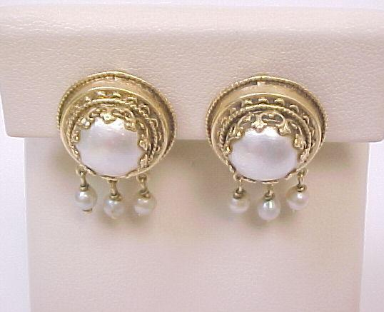 Hand-Crafted Vintage 14K Yellow Gold Cultured Pearl Earrings
