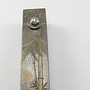 Vintage Sterling Silver  Lipstick Case - Asian Inspired Motif