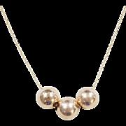 "Vintage 14k Gold Large Bead Necklace ~ Long ~ 31"""