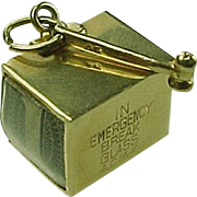 Vintage 14k Gold Charm Emergency Money In Box With Hammer