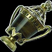 Vintage 14k Gold Charm BIG Ornate Urn Tiger Eye Gem Stone
