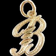 Vintage 14k Gold Letter B Charm