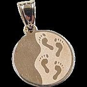 Vintage 10k Gold Footprint Charm