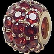 Vintage 10k Gold Garnet Bead Charm / Pendant