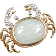 Vintage 10k Gold Two-Tone Jade and Diamond Crab Pendant