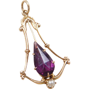 Victorian 10k Gold Lavaliere Seed Pearl and Faux Amethyst Pendant
