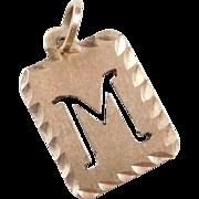Vintage 10k Gold Letter M Charm