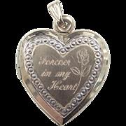 "Vintage 10k Gold ""Forever In My Heart"" Locket Pendant"