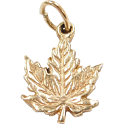 Vintage 10k Gold Maple Leaf Charm