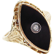 Art Deco 10k Gold Onyx and Diamond Filigree Leaf Ring