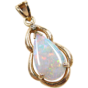 Vintage 10k Gold Colorful Opal and Diamond Pendant