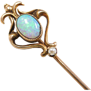 Edwardian 10k Gold Opal and Seed Pearl Stick Pin