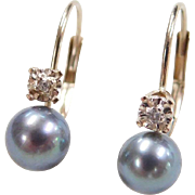 Vintage 10k Gold Cultured Pearl and Diamond Earrings