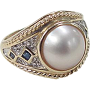 Vintage 10k Gold Two-Tone Sapphire, Diamond and Cultured Pearl Ring