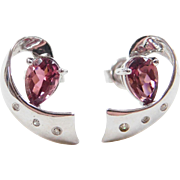 Vintage 10k White Gold .78 ctw Pink Quartz and Diamond Earrings