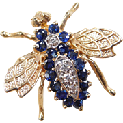Vintage 10k Gold Two-Tone .88 ctw Sapphire and DIamond Bee Pin / Brooch