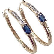 Vintage 10k Gold .58 ctw Sapphire and Diamond Hoop Earrings