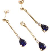 Vintage 10k Gold 2.26 ctw Sapphire and Diamond Set ~ Earrings & Pendant