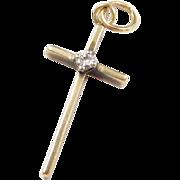 Vintage 10k Gold Small Diamond Cross Pendant / Charm